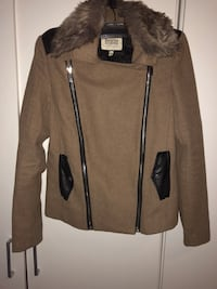 Brun bershka zip-up parka