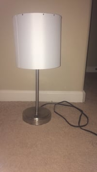 stainless steel base white lampshade table lamp Greer, 29687