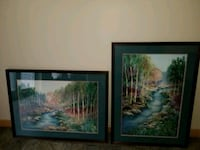 2 green matted with wood frame painting of scenery Saint Charles, 63301