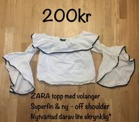 Zara basic collection off the shoulder topp tröja kläder chic classy fynd billig ny trumpet ärm volang vit svart colorblock kvinna ny Sollentuna, 192 69