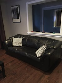 Black Leather Sofa bed.