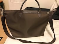 Women's black leather tote bag Montréal, H4L 3N3