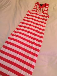 Peach and cream striped maxi dress Lethbridge, T1H 4A4