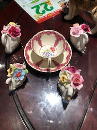 Stunning antique England Ansley pink tea cup and 4 swan Figurines.   Hamilton, L9A 1T3