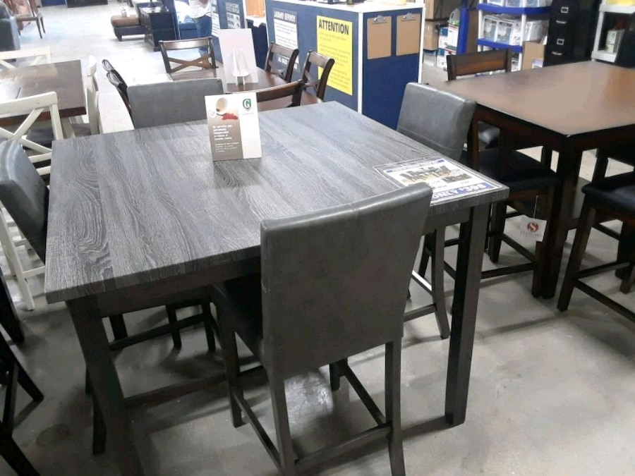 used rectangular brown wooden table with six chairs dining set for rh us letgo com