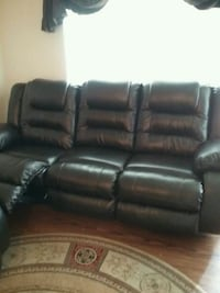 black leather home theater sofa
