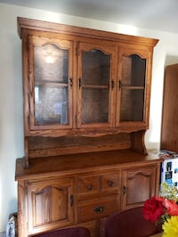 brown wooden china cabinet/hutch