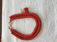 Handmade Red beaded necklace and earrings  null