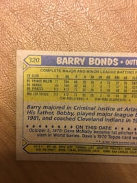 Barry bonds rare baseball card printed error.The 3 is cut off Alexandria, 22306
