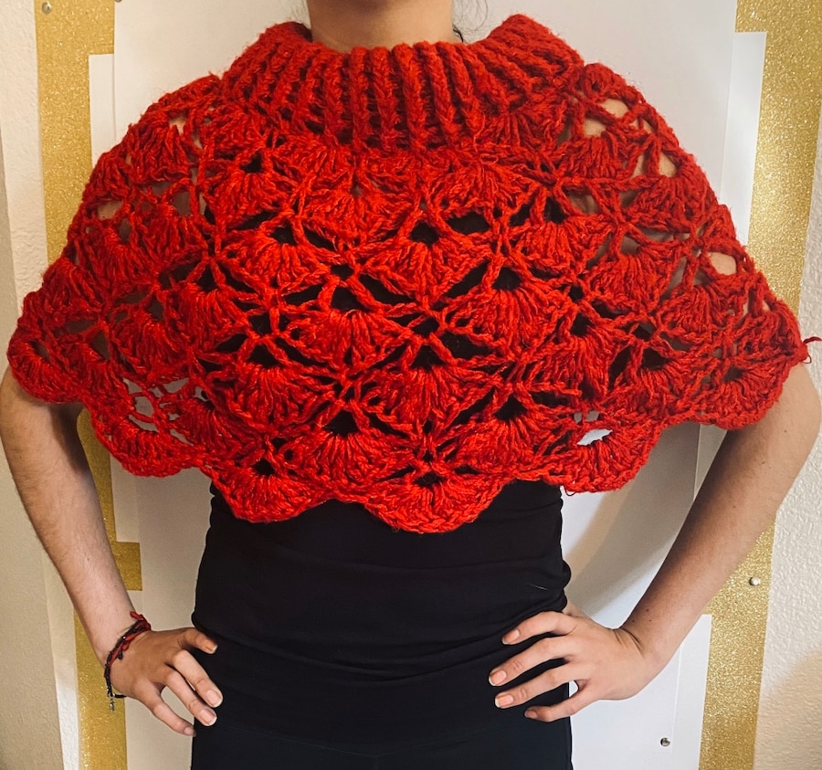 Photo All in Hot Red worsted morn ( Hand made Artesan .) One Size