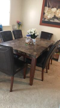 Rectangular marble  table with six chairs dining set 391 mi