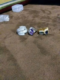 three silver-colored gemstone encrusted rings Tuscaloosa, 35401
