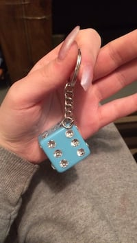 blue and clear gemstone dice keychain Edmonton, T5C