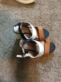 White-black-brown leather straps peep toe d'orsay ankle straps espadrille wedge sandals Clinton, 73601
