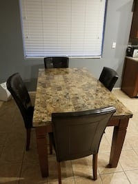 Retangular wooden table with 4 chairs-dining set