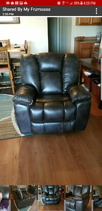 black leather recliner sofa chair