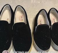 Three pairs of black and white slip-on shoes Surrey, V3S 2R9