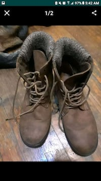 pair of brown suede work boots Garland, 75041