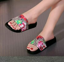 white and pink floral slip on shoes