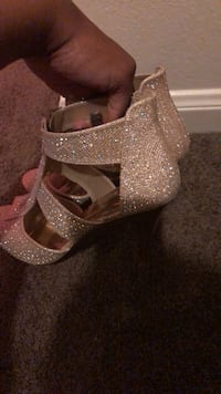 pair of brown glittered open toe ankle strap heels Baton Rouge, 70805