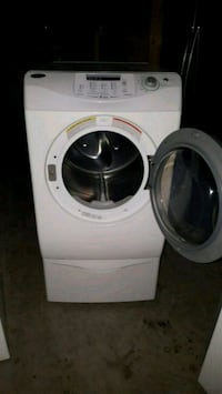 white front-load clothes washer and dryer set 26 km