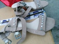 pair of gray leather open-toe wedge sandals West Springfield