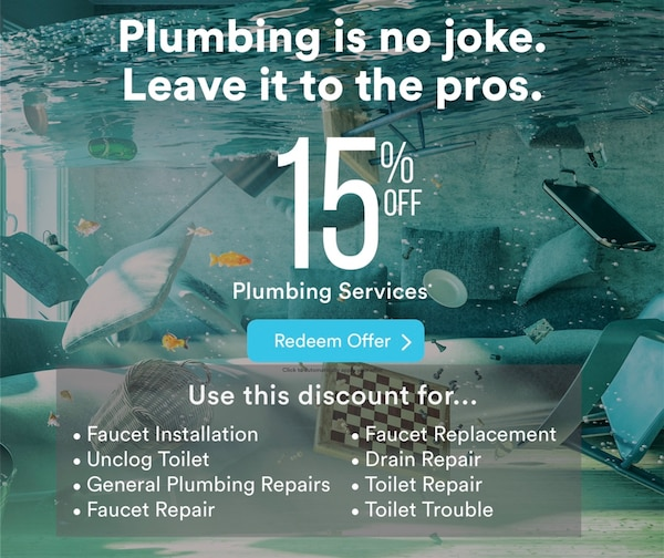 Plumbing problems? Here's 15% off.