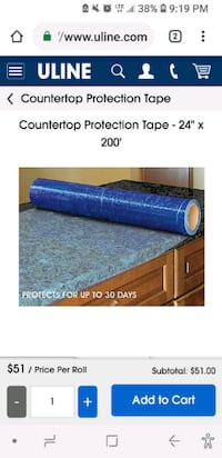 """Counter top protection tape 24"""" x 200' Barrie"""