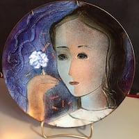 Lady with White Flower Decorative Art Deco Style Plate