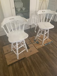 White Wood Swivel Barstools (2)