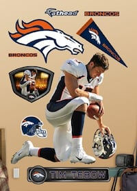 Football wall decal. Tim Tebow. Denver Broncos Indianapolis, 46236