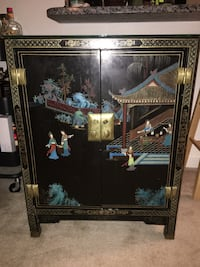Asian style wood cabinet with glass top Watertown, 02472