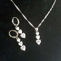 silver heart encrusted pendant and lobst