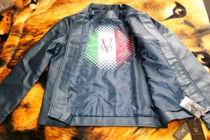 Blue leather Versace jacket