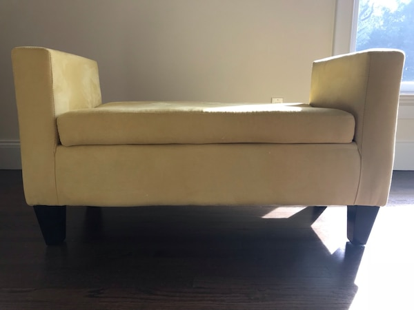 Alauda Upholstered Bedroom Bench by Mercury Row Yellow fabric sofa 43in W  25in H 20in D