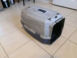 Grey Dog cat carrying cage case pet porter