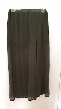 Army green ultra sexy double slit sheer maxi skirt size small  Toronto, M5H 2S8