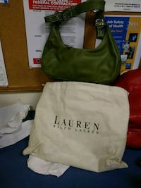 green and white leather tote bag Boston, 02120
