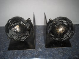 Vintage 1970's Metal World Spinning Globe Bookends