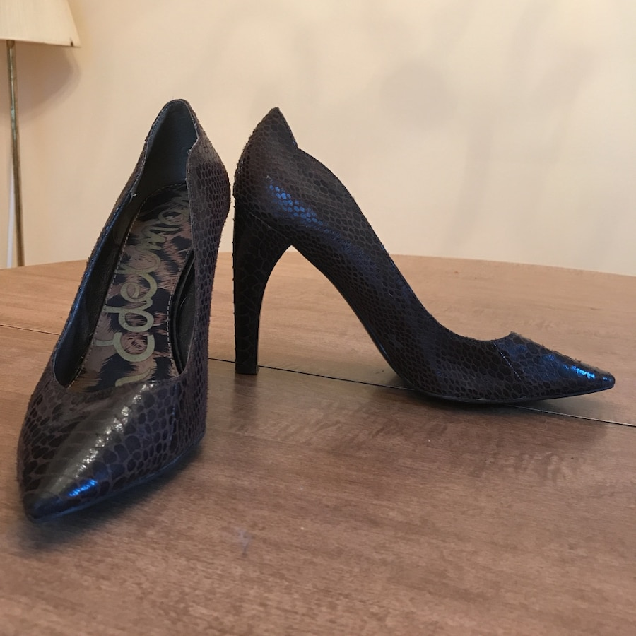 pair of brown patent leather snake skin print stilettos shoes - Buckland
