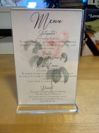 Bradal Shower/Party Menu Stands or Table Numbers Frames