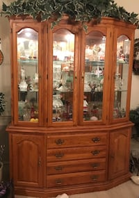 Brown wooden framed glass china cabinet Bristow