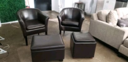 4 pc chair and ottoman set