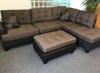 Brand New Brown Linen Sectional Sofa + Ottoman  Silver Spring