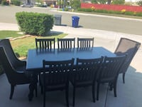 rectangular black wooden table with six chairs dining set San Marcos, 92069