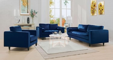 ACME VELVET SOFA , LOVESEAT AND CHAIR! NEW AVAILABLE IN BLUE AND GRAY