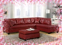 Leather Like Red Sectional New Elkridge, 21075
