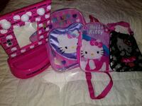 Hello kitty mirror and 3 small bags
