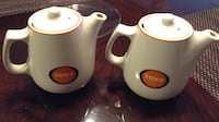 2 white and orange sanka print ceramic tea pot Centreville, 20120