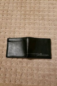 Black Leather Wallet with Zipper Pocket